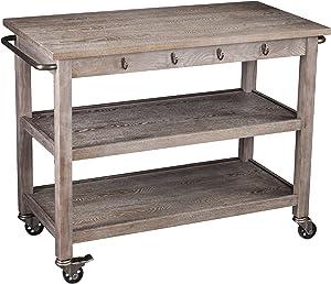 SEI Furniture Whitewash Burnt Oak Kitchen Cart - Locking Castor Wheels - 3 Tier Design