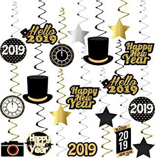 Happy New Year Hanging Swirl – Pack of 40, Sturdy | 2019 New Years Eve Swirls | New Years Eve Party Supplies 2019 | New Year Party Decoration | Hollywood Oscar Black and Gold NYE Decorations 2019