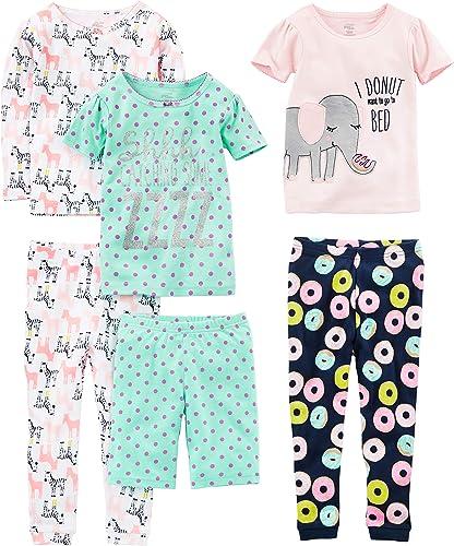 Simple Joys by Carter's Ensemble de Pyjama 6 pièces en Coton Bébé Fille, Lot de 6
