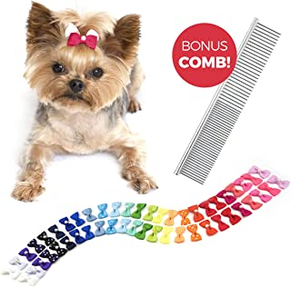 The Thoughtful Brand 50 Pcs Dog Bows with Rubber Bands (25 Pairs) - Strong Hold Hair Bows for...