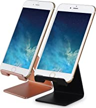Honsky GEN-2 Universal Aluminum Cell Phone Tablet Desk Charging Stand Portable Hands Free Desktop Display Holder, Compatible with iPhone iPad Mini LG Samsung Android Cellphone, 2 Set, Rose Gold/Black