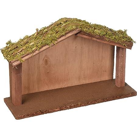 Creative Co-op Wood Crèche w Mossy Roof