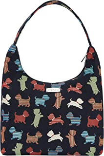 Signare Tapestry Hobo Shoulder bag slough purse for Women with Playful Puppy Design (HOBO -SCOT)