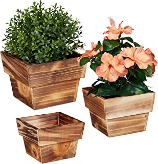 Relaxdays, Juego de 3 macetas Naturales de Madera flameada, para Interior y Exterior, cuadradas, decoración para Plantas, ...
