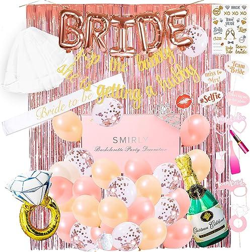 lowest SMIRLY Bachelorette Party 2021 Decorations Kit: Rose Gold Bridal Shower Decorations Kit, online sale Bachelorette Party Supplies, Bride to Be Decorations, Bridal Shower Decor, Bachelorette Sash and Veil Bride Balloons outlet sale