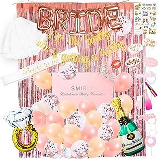دکوراسیون و لوازم جانبی مهمانی Bachelorette: کیت مهمانی برای شبانه دخترانه ، مهمانی عروس یا مهمانی نامزدی - شامل آگهی های تبلیغاتی ، عروس برای ارایش ، تیارا ، حجاب ، بادکنک ، تاتو ، غرفه عکس غرفه