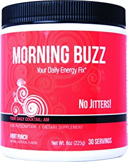 New Health Morning Buzz Daily Energy Drink - Pre Workout and Mood Boost - Mental Focus, Immune Support, and Energy Powder - 8 Ounce, 30 Servings