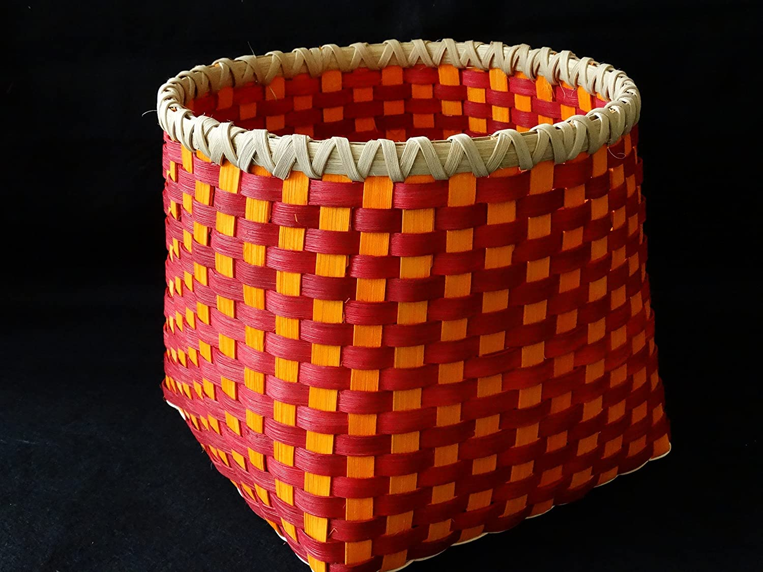 Hand woven Basket in Cherry Red Large High quality new and Orange. Sunshine Stora Super-cheap