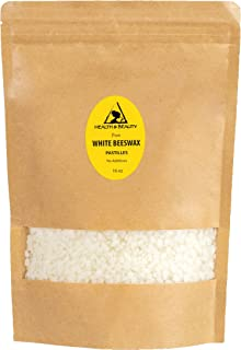 White Beeswax Bees Wax Organic by H&B OILS CENTER Pastilles Beads Premium Prime Grade A 100% Pure 16 oz, 1 LB