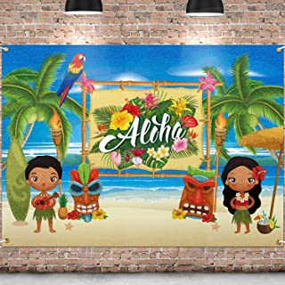 PAKBOOM Aloha Backdrop Black Photo Background Banner Hawaiian Tropical Themed Party Decorations Supplies