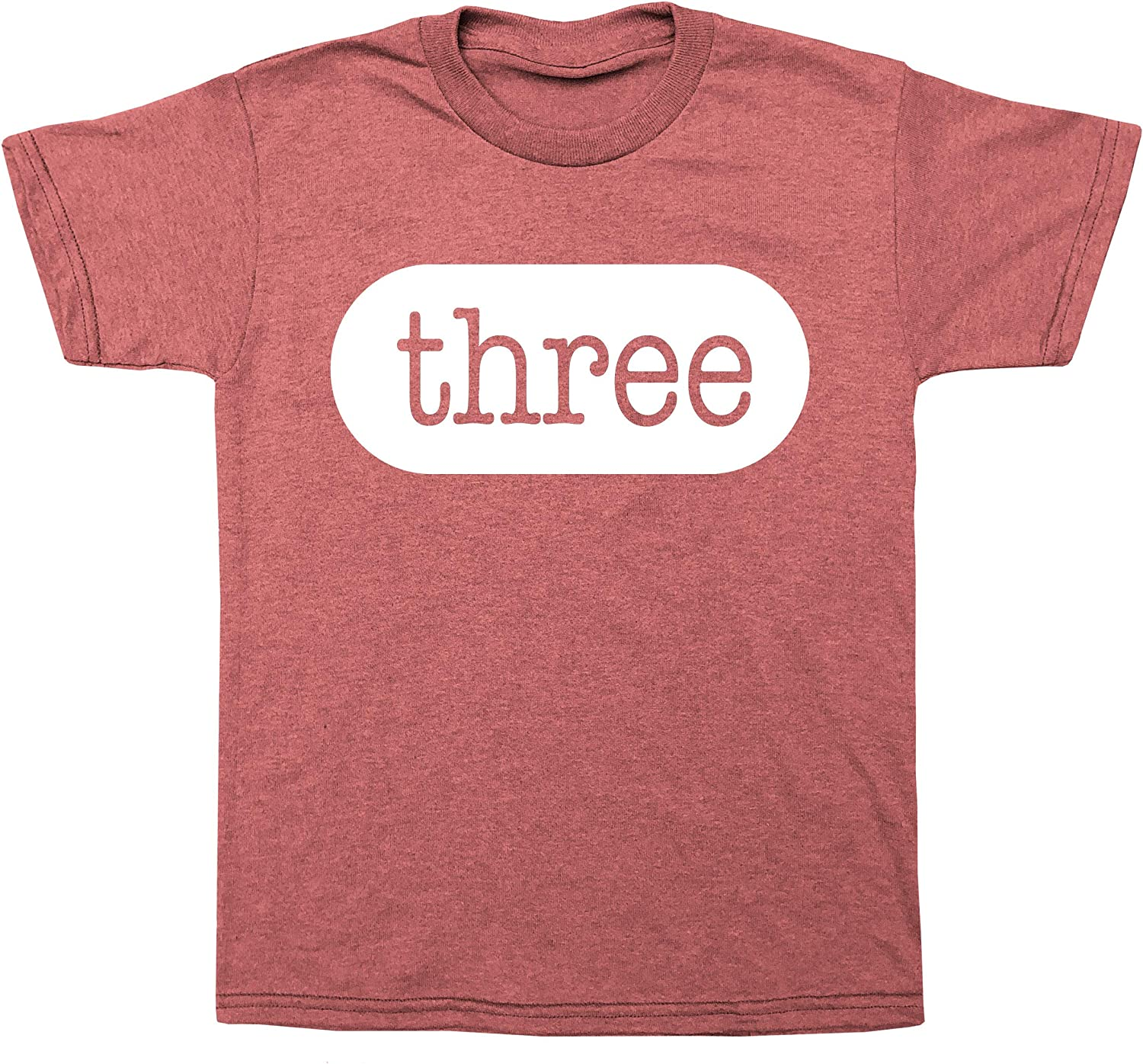 Happy Family Clothing Third Birthday Three 3rd Birthday Outfit Toddler 3 Year Old for Boys and Girls Type Font T-Shirt