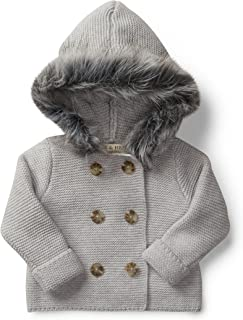 Hope & Henry Layette Sweater with Faux Fur Hood