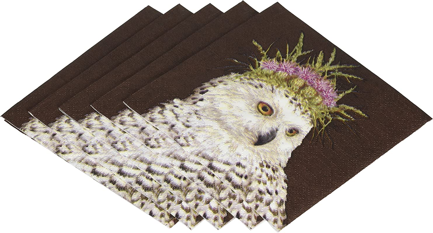 Paperproducts Design Vicki Sawyer Snow Queen Owl Paper Cocktail Napkins Multicolor