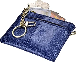 Beurlike Womens Coin Purse Change Wallet Pouch Leather Card Holder with Keychain (Star Blue)