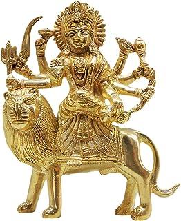 Brass Gift Center Brass Durga Statue Showpiece - 15 cm (Brass, Gold)