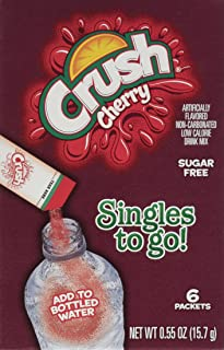 Crush Singles To Go Powder Packets, Water Drink Mix, Cherry, Non-Carbonated, Sugar Free Sticks (12 Boxes with 6 Packets Each - 72 Total Servings)