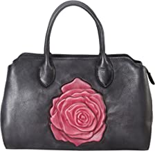 Diophy Genuine Leather Quilted Medium Top Handle Handbag 160605