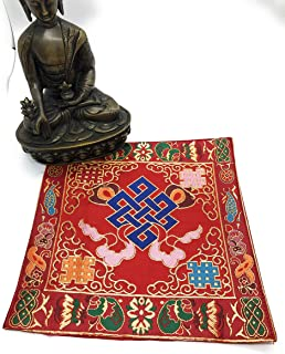 Tibetan buddhist Endless Knot red silk brocade table cover/altar cloth/shrine Cloth/cover/placemat