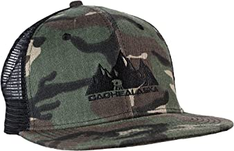 CacheAlaska -Trucker Hat - Flat Brim Cap with Snapback Buckle for Men or Women - Camo