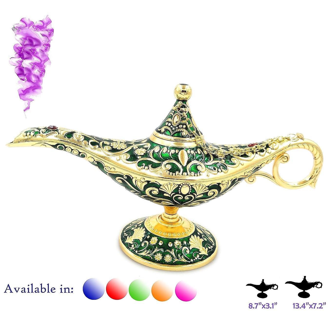 グレートオーク地中海画家凡例Aladdin Magic Genieライトランプポットクラシックカラー真鍮Aladdin Genie Lamps Incense Burners Normal 8.7x3.1