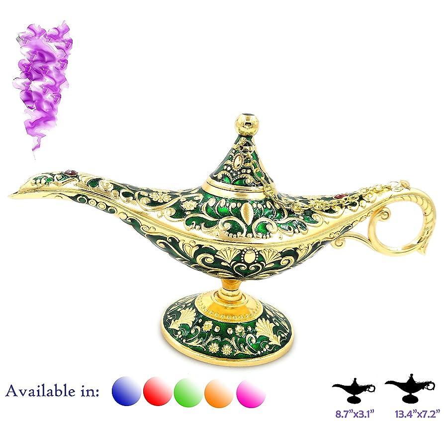 雨の代表団急性凡例Aladdin Magic Genieライトランプポットクラシックカラー真鍮Aladdin Genie Lamps Incense Burners Normal 8.7x3.1