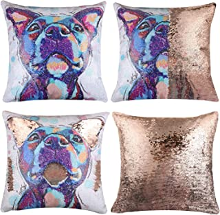 EVERMARKET Mermaid Throw Pillow Cover,Magic Reversible Sequin Pillow Case, Cute Pet Pattern Throw Cushion Pillow Case Decorative Pillow That Change Color 16