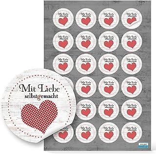 24 Stück kleine runde Aufkleber MIT LIEBE SELBSTGEMACHT rot gepunktetes Herz mit schwarz 4 cm - selbstklebende Etiketten Sticker für Handarbeit handgemacht als Verpackung für Geschenke