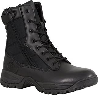 Milwaukee Performance Men's Leather Tactical Boots With Side Zipper (Black, Size 13) (9