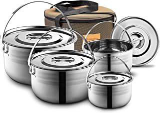 Camping Cookware Set - Compact Stainless Steel Campfire Cooking Pots and Pans | Combo Kit with Travel Tote Bag | Rugged Outdoor Cook Set for Hiking | Barbecues | Beach | Hiking Gear
