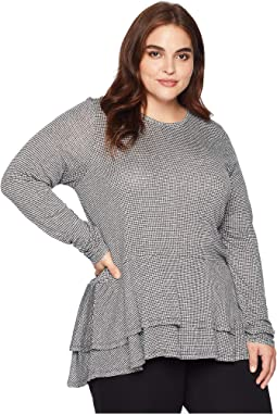 Plus Size Mini Tweed Double Hem Top
