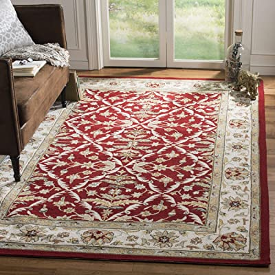 Safavieh Easy to Care Collection EZC717A Hand-Hooked Red and Ivory Area Rug (2' x 3')