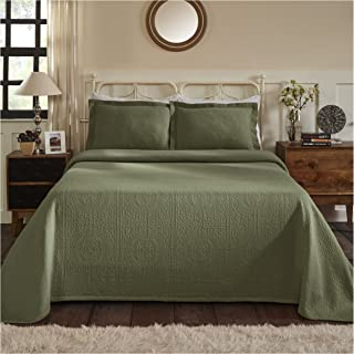 Superior 100% Cotton Medallion Bedspread with Shams, All-Season Premium Cotton Matelassé Jacquard Bedding, Quilted-look Floral Medallion Pattern - Queen, Sage
