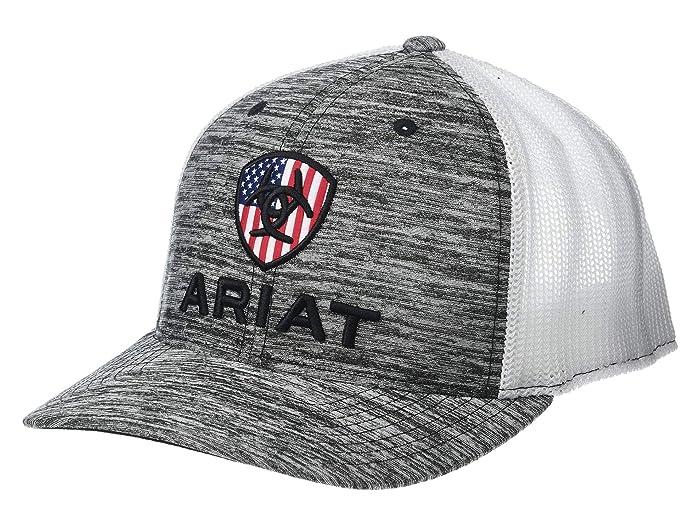 Ariat   Rwb Shield Logo Flexfit110 Snapback Cap (Heather Grey/White) Caps