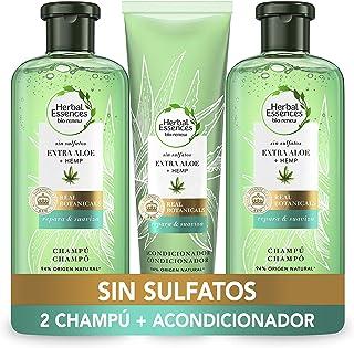 Herbal Essences Bio:renew sin Sulfatos con Aloe Intenso y Hemp Champú 2 x 380 ml + Acondiciondor 275 ml en colaboració...