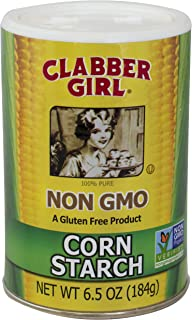 Clabber Girl Corn Starch - Non GMO, Gluten Free, Vegan, Vegetarian, Thickener for sauce, soup, gravy in a Resealable Can - 6.5 oz can (2)