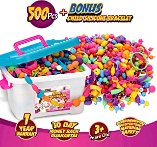 Snap Pop Beads, 500+Pcs Jewelry Making Kit For Kids 3,4,5,6,7,8,9,10 Year Old Girls - Necklaces, Bracelets & Rings Art and...