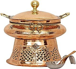 Indian Art Villa Designer Steel Copper Chafing Dish with Fuel Gel Stand & Spoon, Buffet Warmer Serveware, 202 OZ