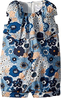 Chloe Kids - Poplin Flower Print Knot On Shoulders Romper (Toddler)