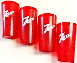 7up Logo Red Plastic Tumblers Set of 4-16oz