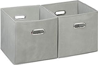 Relaxdays Cajas de almacenaje, Set de dos cestas, Sin tapa, Con asas, Plegable, Cuadrado, 30 cm, Gris
