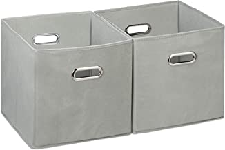 Relaxdays Storage Box Set of 2, No Lids, with Handles, Folding, Square Shelf Bins, 30 cm, Grey, Polyester, Cardboard, Gray...