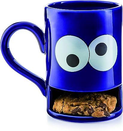 Preisvergleich für Donkey Products - Mug Monster Keks-Becher | Lustige blaue Tasse mit praktischem Keksfach für krümelnde Monster