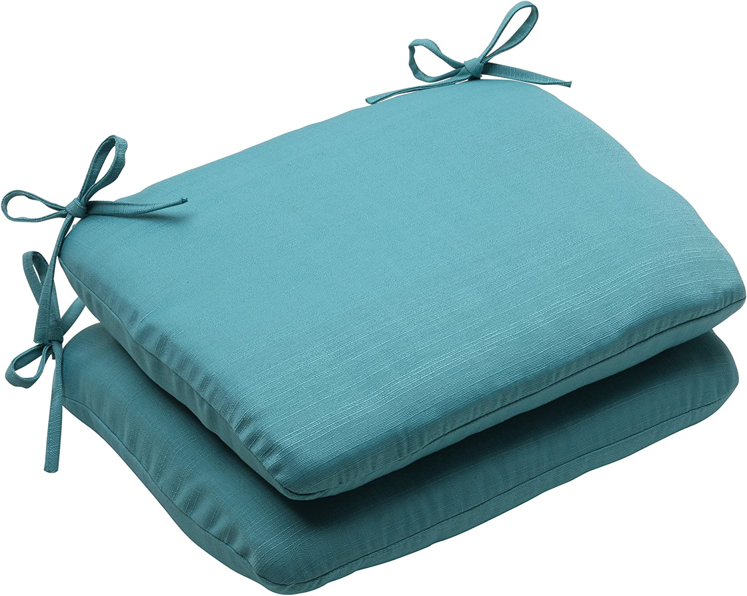 Pillow Perfect Indoor Outdoor Forsyth Rounded Seat Cushion, Turquoise, Set of 2