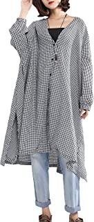 Women Long Sleeve V-Neck Loose Cover Up Blouse Outwear...
