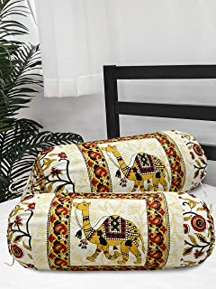 Salona Bichona 100% Cotton Camel Printed Jaipuri Bolster 2 Pcs Set