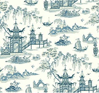 York Wallcoverings Waverly Classics II Peaceful Temple Removable Wallpaper, Blues