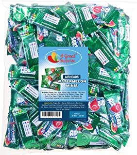 Airheads Bulk - Bulk Candy - Green Candy - Air Heads Mini Bars Watermelon Flavor Chewy Fruit Candies 2 lb Party Bag, Family Size
