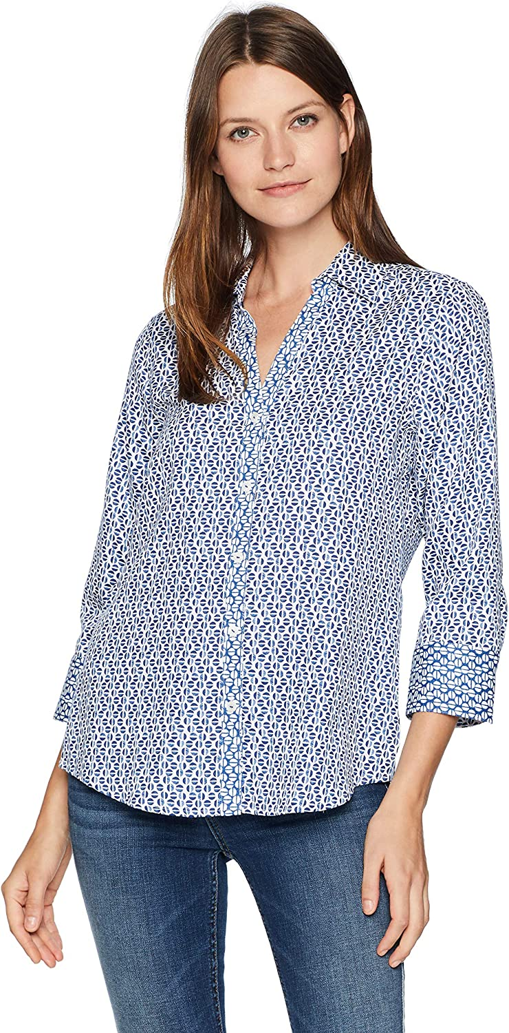 Foxcroft Womens Mary Graphic Dot Blouse Button Down Shirt