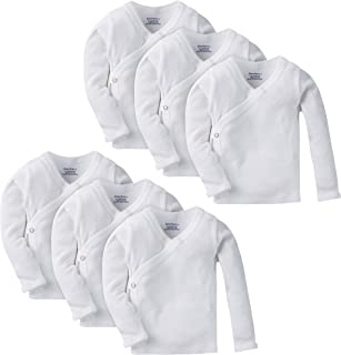 Gerber Baby 6-Pack Long-Sleeve Side-Snap Shirt, White, 0-3 Months