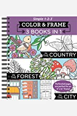 Color & Frame Coloring Book - 3 in 1 - Country, Forest, City Spiral-bound